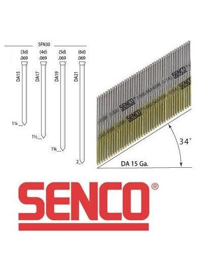 SENCO DA 15 Gauge Angled Finish Nails - 1 1/2